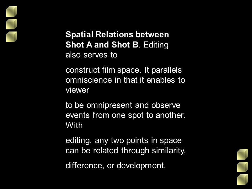 Spatial Relations between Shot A and Shot B. Editing also serves to construct film space. It parallels omniscience in that it enables to viewer to be