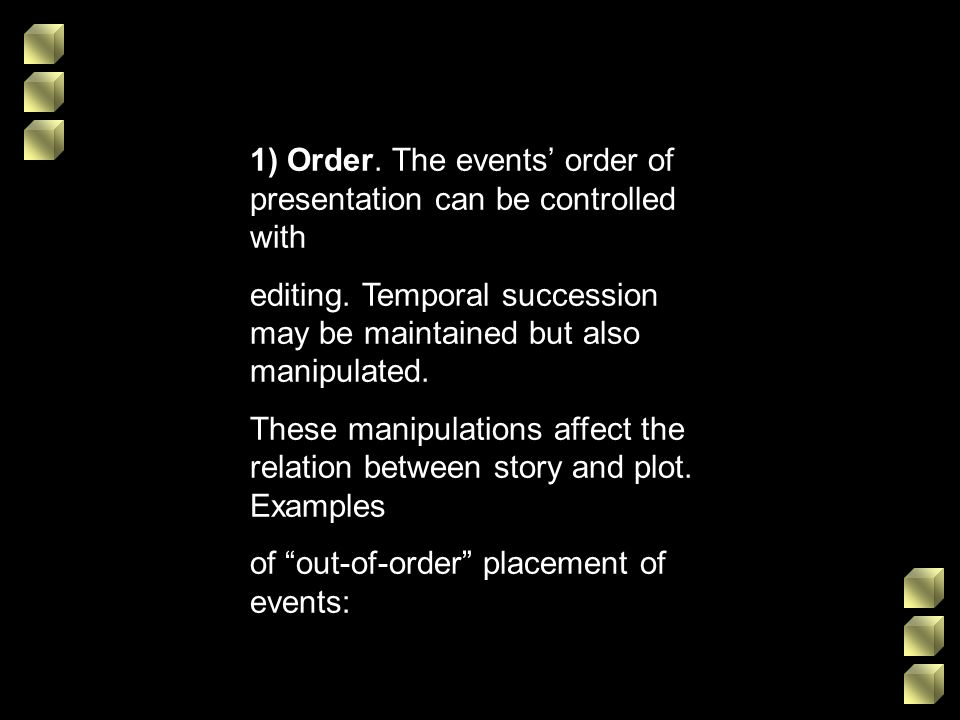 1) Order. The events order of presentation can be controlled with editing. Temporal succession may be maintained but also manipulated. These manipulat