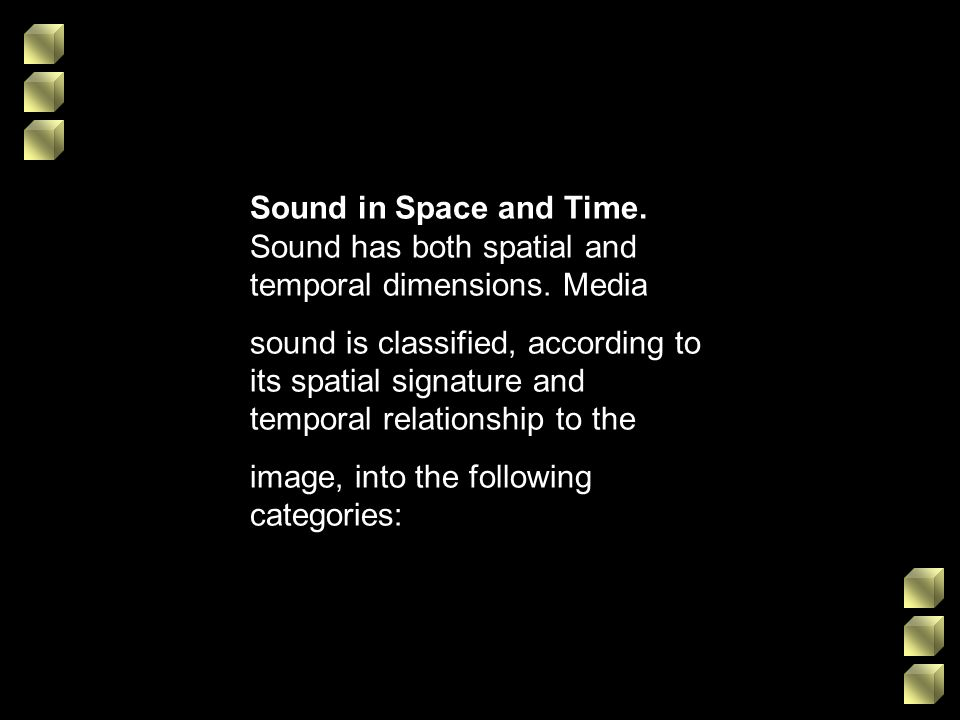 Sound in Space and Time. Sound has both spatial and temporal dimensions. Media sound is classified, according to its spatial signature and temporal re