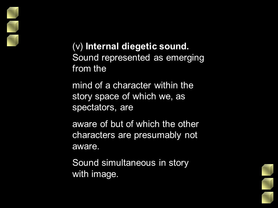 (v) Internal diegetic sound. Sound represented as emerging from the mind of a character within the story space of which we, as spectators, are aware o