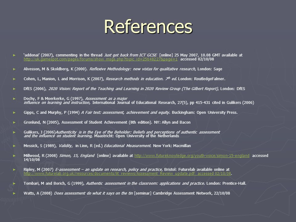 References addonai (2007), commenting in the thread Just got back from ICT GCSE [online] 25 May 2007, GMT available at   topic_id= &page=1 accessed 02/10/08   topic_id= &page=1 Alvesson, M & Skoldberg, K (2000).