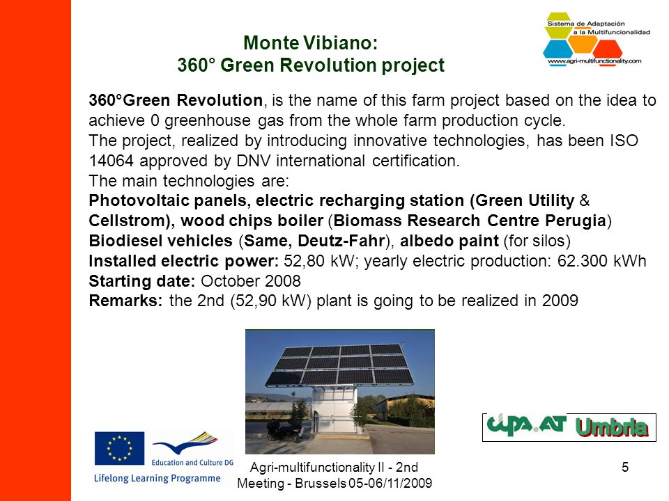 Agri-multifunctionality II - 2nd Meeting - Brussels 05-06/11/2009 5 Monte Vibiano: 360° Green Revolution project 360°Green Revolution, is the name of