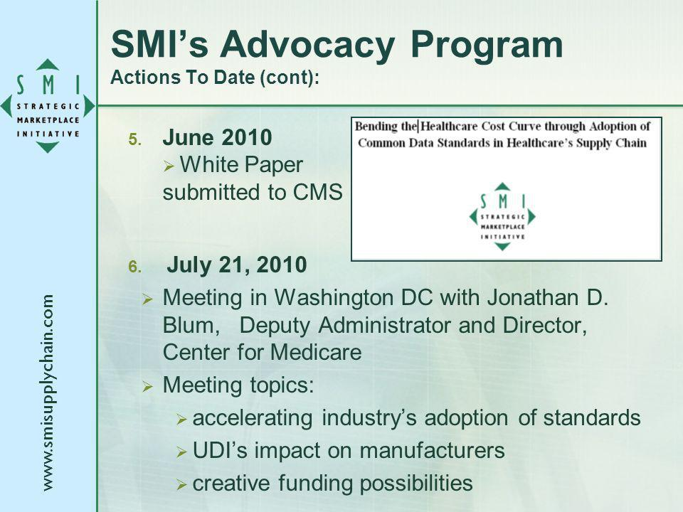 www.smisupplychain.com 5. June 2010 White Paper submitted to CMS 6. July 21, 2010 Meeting in Washington DC with Jonathan D. Blum, Deputy Administrator