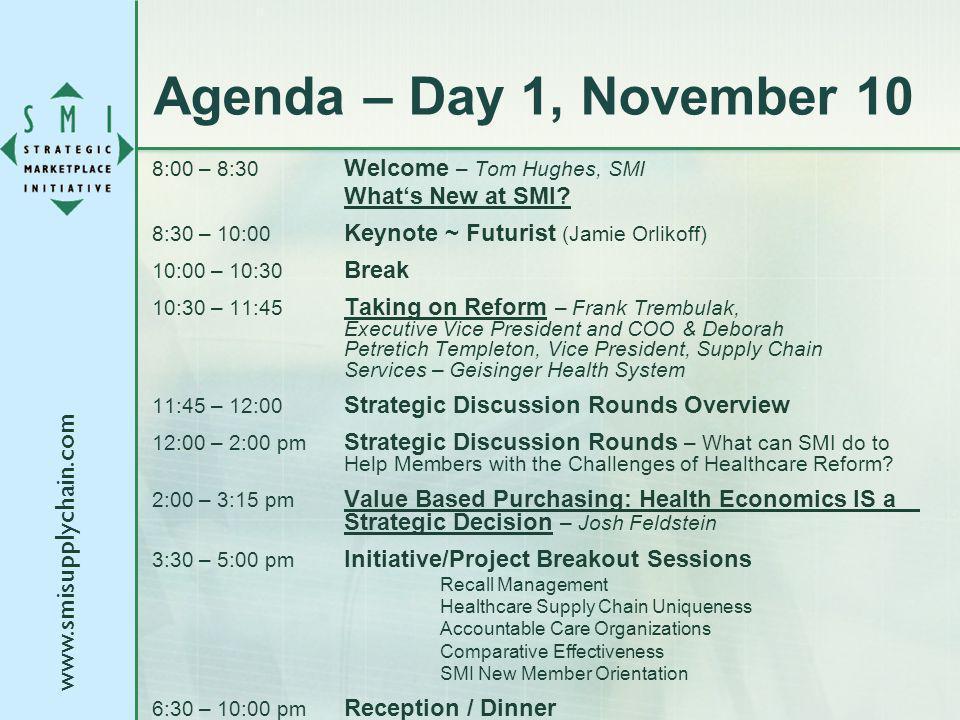 www.smisupplychain.com Agenda – Day 1, November 10 8:00 – 8:30 Welcome – Tom Hughes, SMI Whats New at SMI.