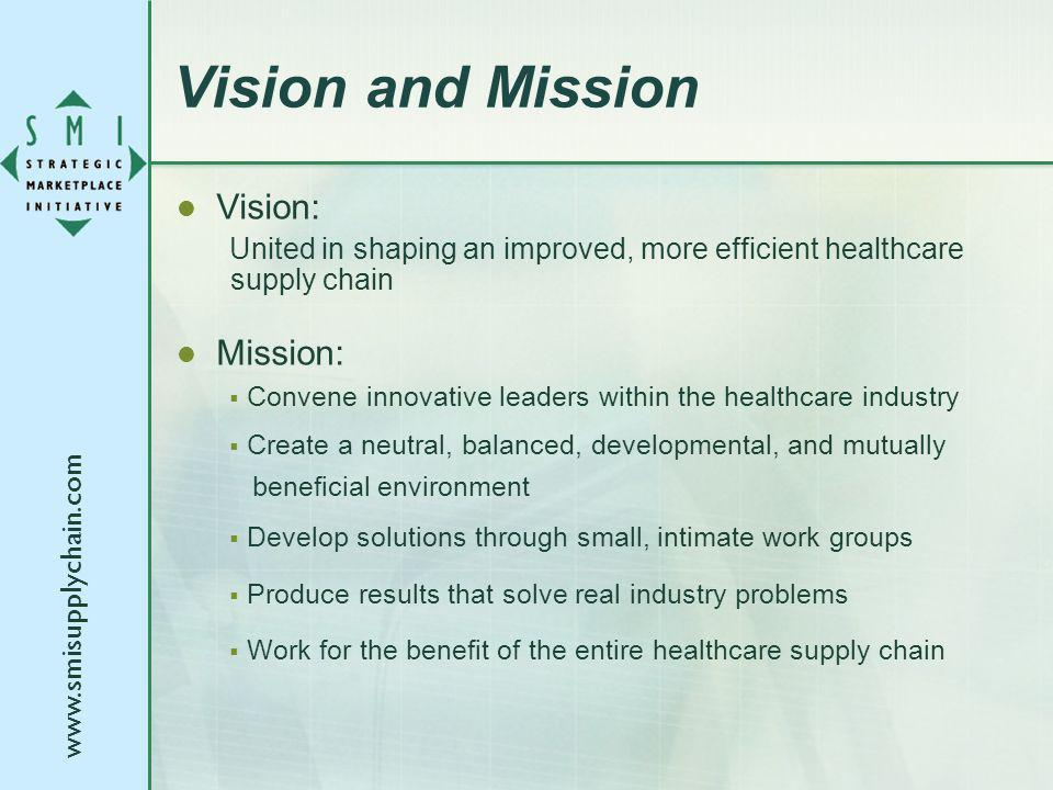 www.smisupplychain.com Vision and Mission Vision: United in shaping an improved, more efficient healthcare supply chain Mission: Convene innovative le