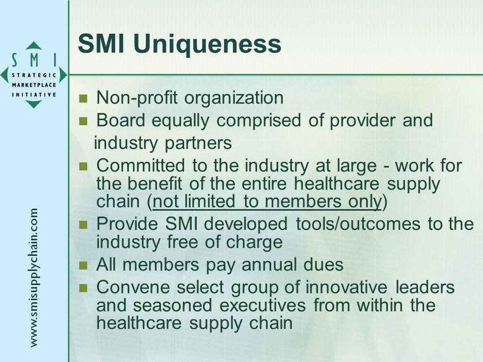 www.smisupplychain.com SMI Uniqueness Non-profit organization Board equally comprised of provider and industry partners Committed to the industry at l
