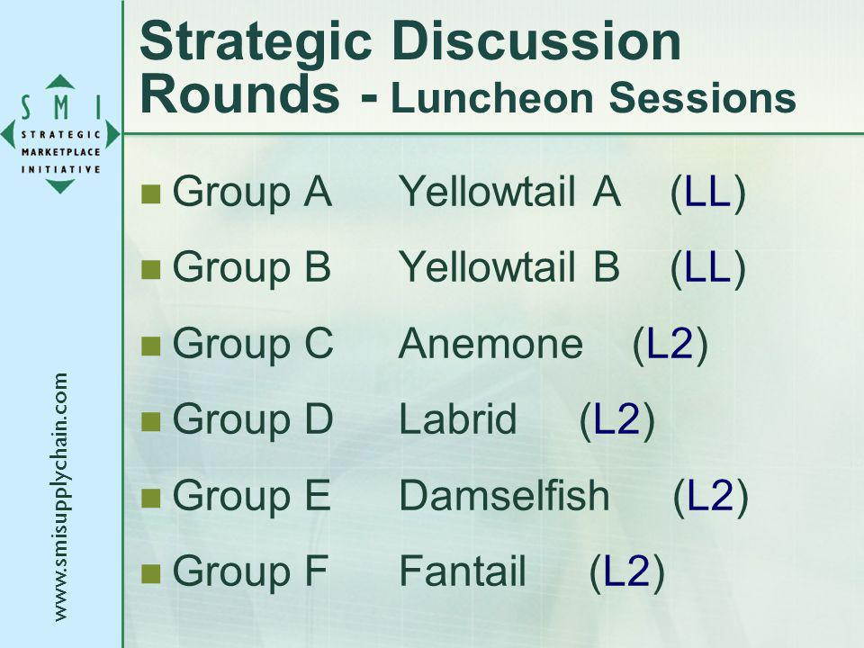 Strategic Discussion Rounds - Luncheon Sessions Group AYellowtail A (LL) Group BYellowtail B (LL) Group CAnemone (L2) Group DLabrid (L2) Group EDamselfish (L2) Group FFantail (L2)