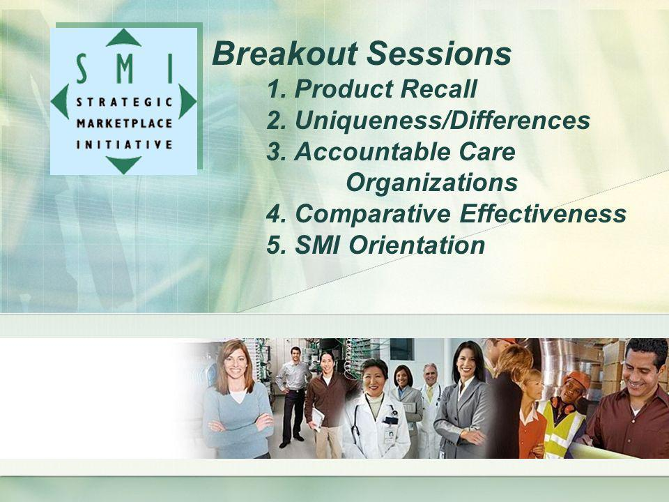 Breakout Sessions 1. Product Recall 2. Uniqueness/Differences 3. Accountable Care Organizations 4. Comparative Effectiveness 5. SMI Orientation