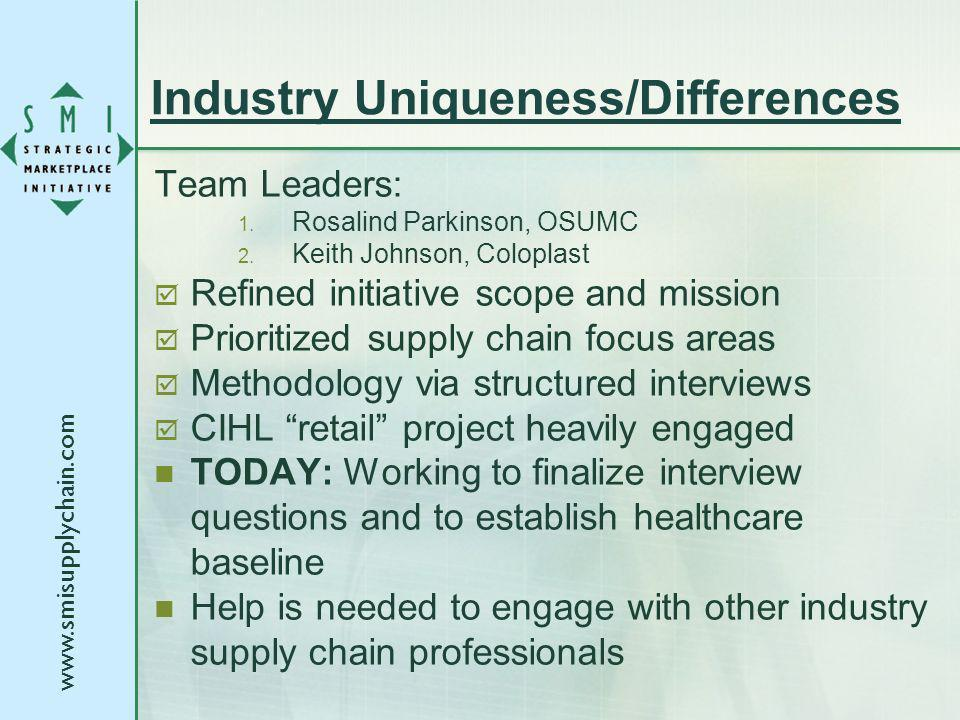 www.smisupplychain.com Industry Uniqueness/Differences Team Leaders: 1. Rosalind Parkinson, OSUMC 2. Keith Johnson, Coloplast Refined initiative scope