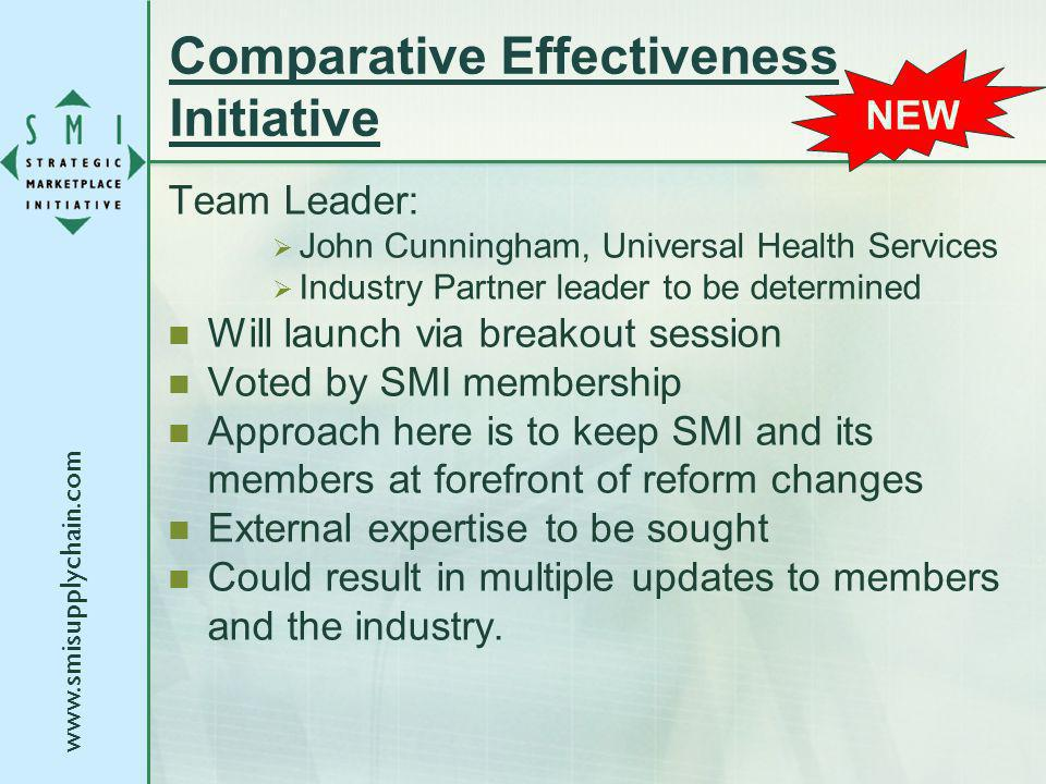 Comparative Effectiveness Initiative Team Leader: John Cunningham, Universal Health Services Industry Partner leader to be determined Will launch via breakout session Voted by SMI membership Approach here is to keep SMI and its members at forefront of reform changes External expertise to be sought Could result in multiple updates to members and the industry.