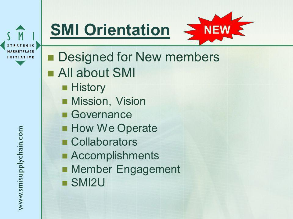 SMI Orientation Designed for New members All about SMI History Mission, Vision Governance How We Operate Collaborators Accomplishments Member Engagement SMI2U NEW