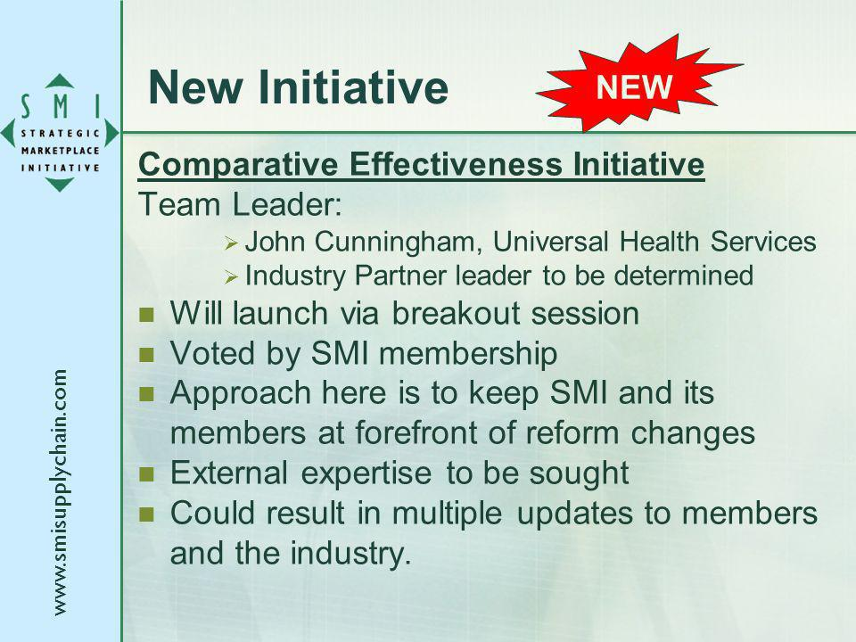 New Initiative Comparative Effectiveness Initiative Team Leader: John Cunningham, Universal Health Services Industry Partner leader to be determined Will launch via breakout session Voted by SMI membership Approach here is to keep SMI and its members at forefront of reform changes External expertise to be sought Could result in multiple updates to members and the industry.