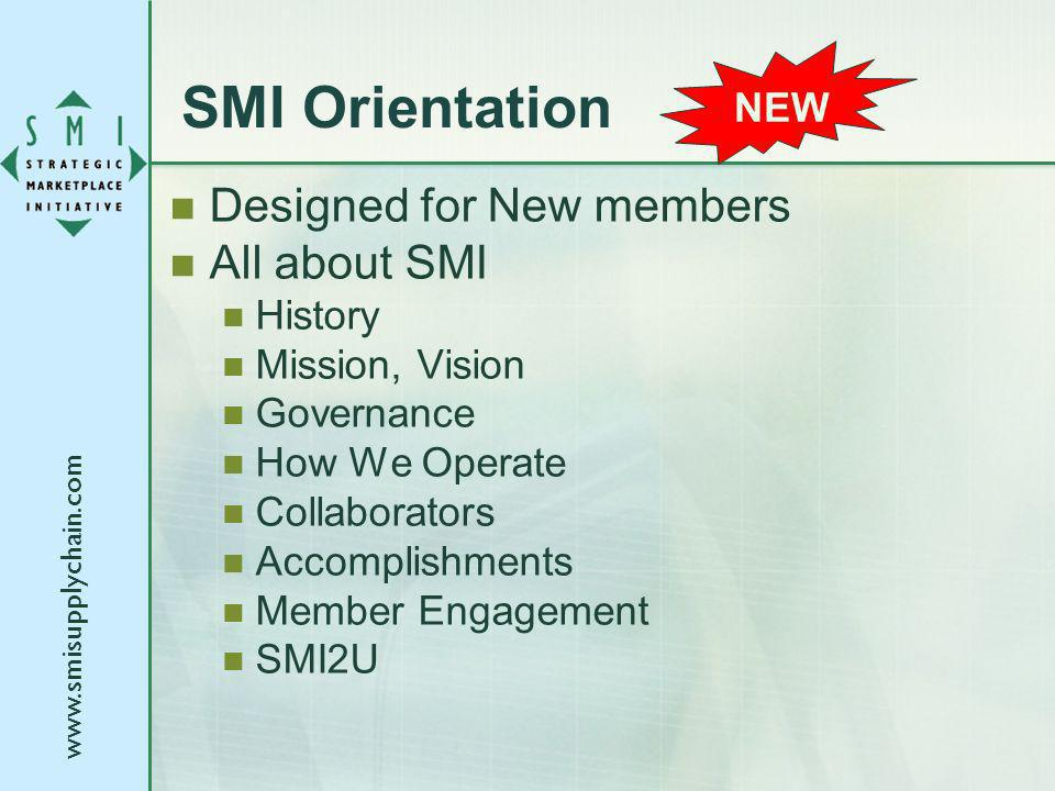 www.smisupplychain.com SMI Orientation Designed for New members All about SMI History Mission, Vision Governance How We Operate Collaborators Accompli
