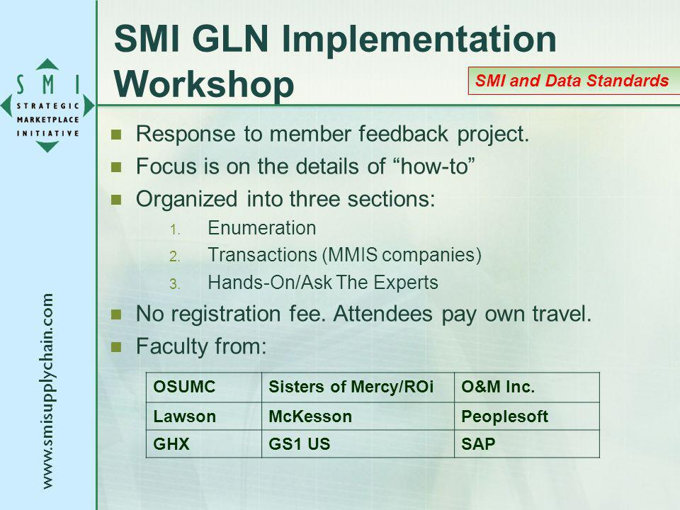 www.smisupplychain.com SMI GLN Implementation Workshop Response to member feedback project. Focus is on the details of how-to Organized into three sec
