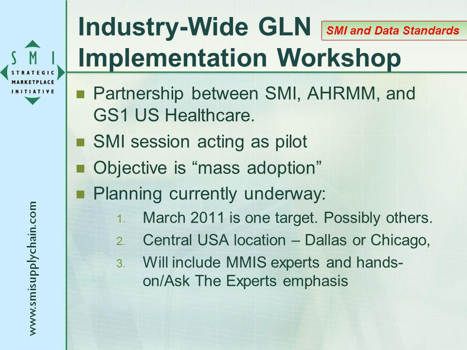 Industry-Wide GLN Implementation Workshop Partnership between SMI, AHRMM, and GS1 US Healthcare.