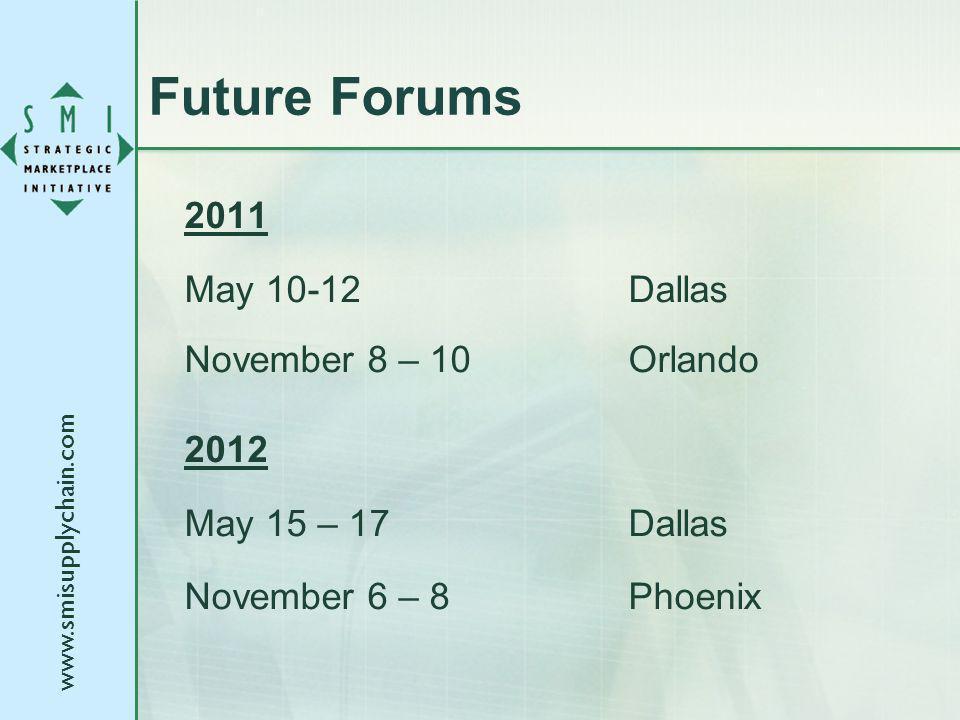www.smisupplychain.com Future Forums 2011 May 10-12Dallas November 8 – 10Orlando 2012 May 15 – 17Dallas November 6 – 8Phoenix