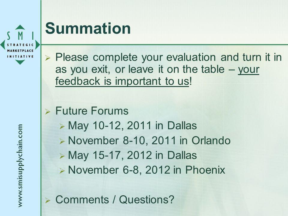 Summation Please complete your evaluation and turn it in as you exit, or leave it on the table – your feedback is important to us.