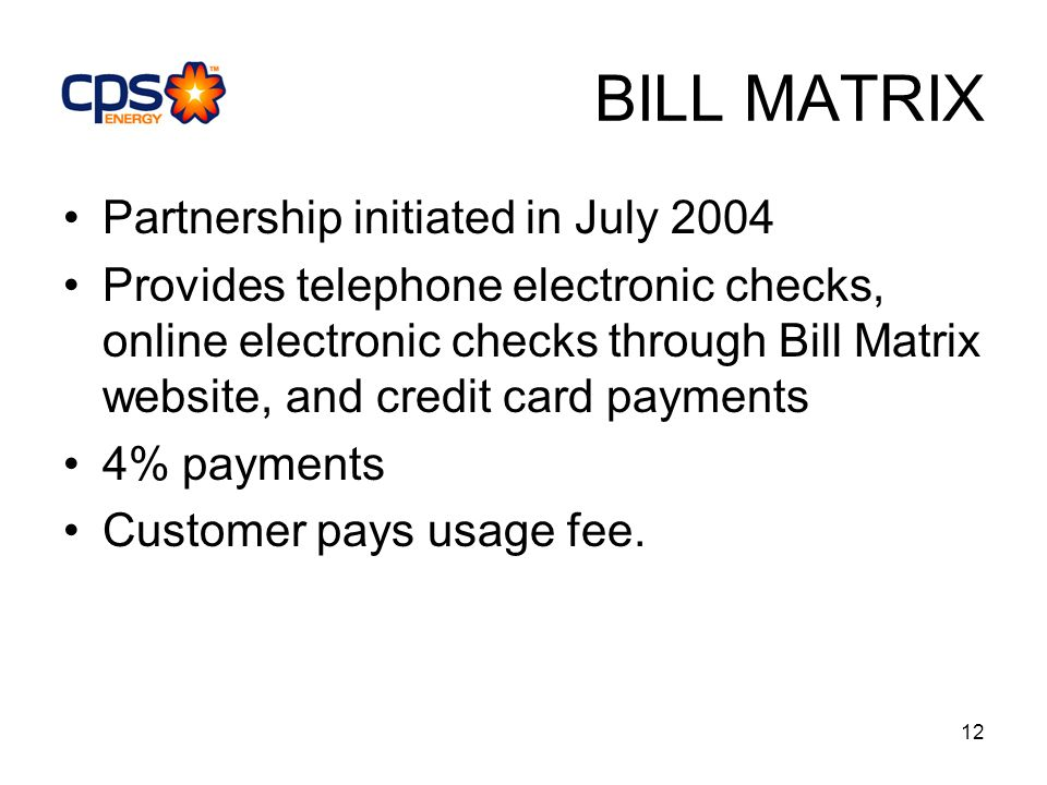 12 BILL MATRIX Partnership initiated in July 2004 Provides telephone electronic checks, online electronic checks through Bill Matrix website, and credit card payments 4% payments Customer pays usage fee.