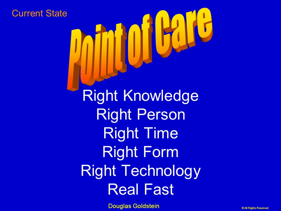 © All Rights Reserved Douglas Goldstein Right Knowledge Right Person Right Time Right Form Right Technology Real Fast Current State