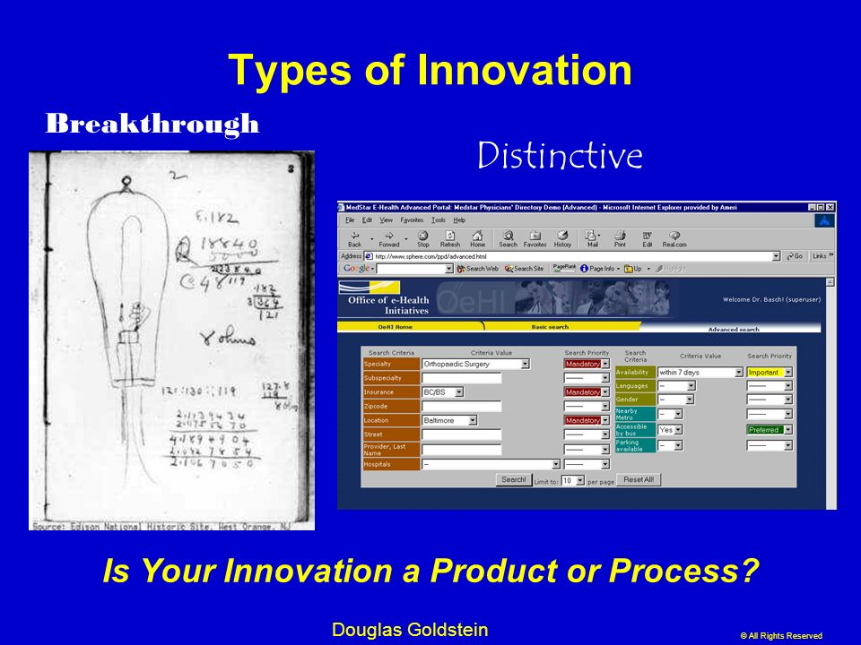 © All Rights Reserved Douglas Goldstein Types of Innovation Breakthrough Distinctive Is Your Innovation a Product or Process?
