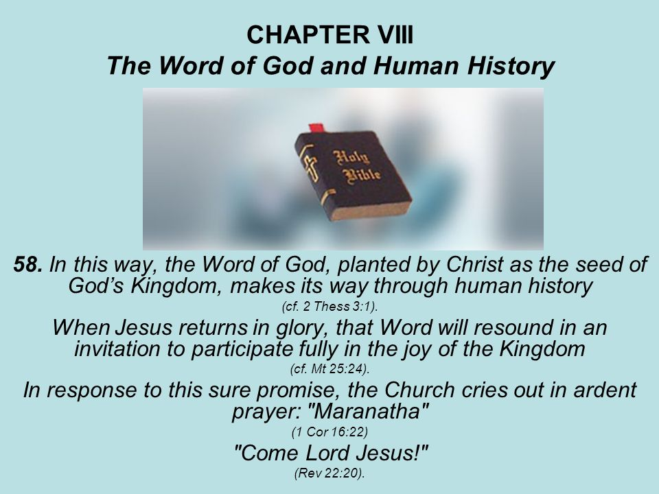 CHAPTER VIII The Word of God and Human History 58. In this way, the Word of God, planted by Christ as the seed of Gods Kingdom, makes its way through