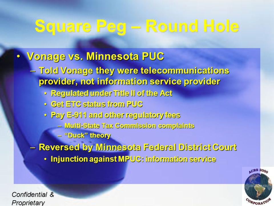 Square Peg – Round Hole Vonage vs. Minnesota PUCVonage vs.