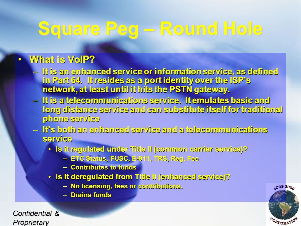 Square Peg – Round Hole What is VoIP What is VoIP.