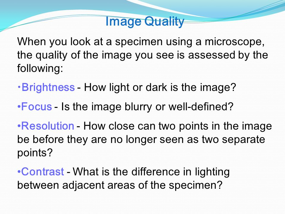 Image Quality When you look at a specimen using a microscope, the quality of the image you see is assessed by the following: Brightness - How light or