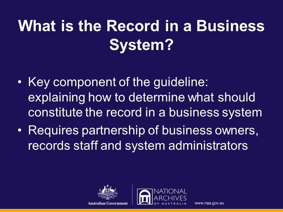 What is the Record in a Business System? Key component of the guideline: explaining how to determine what should constitute the record in a business s