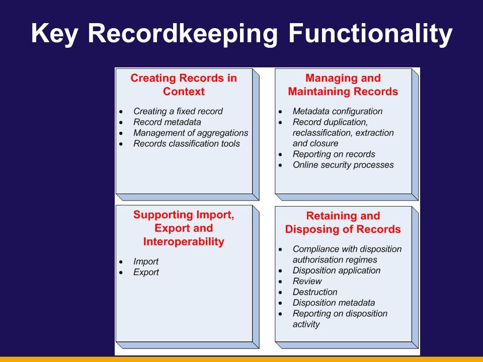 Key Recordkeeping Functionality