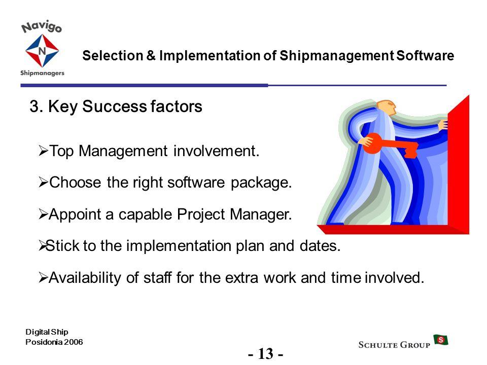 13 Selection & Implementation of Shipmanagement Software Digital Ship Posidonia 2006 3. Key Success factors Top Management involvement. Choose the rig