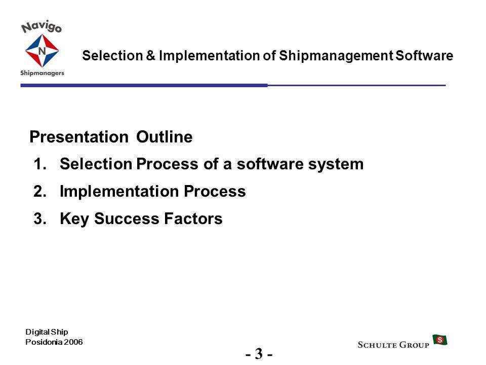 3 Selection & Implementation of Shipmanagement Software Digital Ship Posidonia 2006 Presentation Outline 1.Selection Process of a software system 2.Im