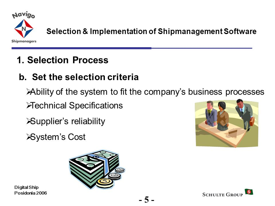 5 Selection & Implementation of Shipmanagement Software Digital Ship Posidonia 2006 1. Selection Process b. Set the selection criteria Technical Speci