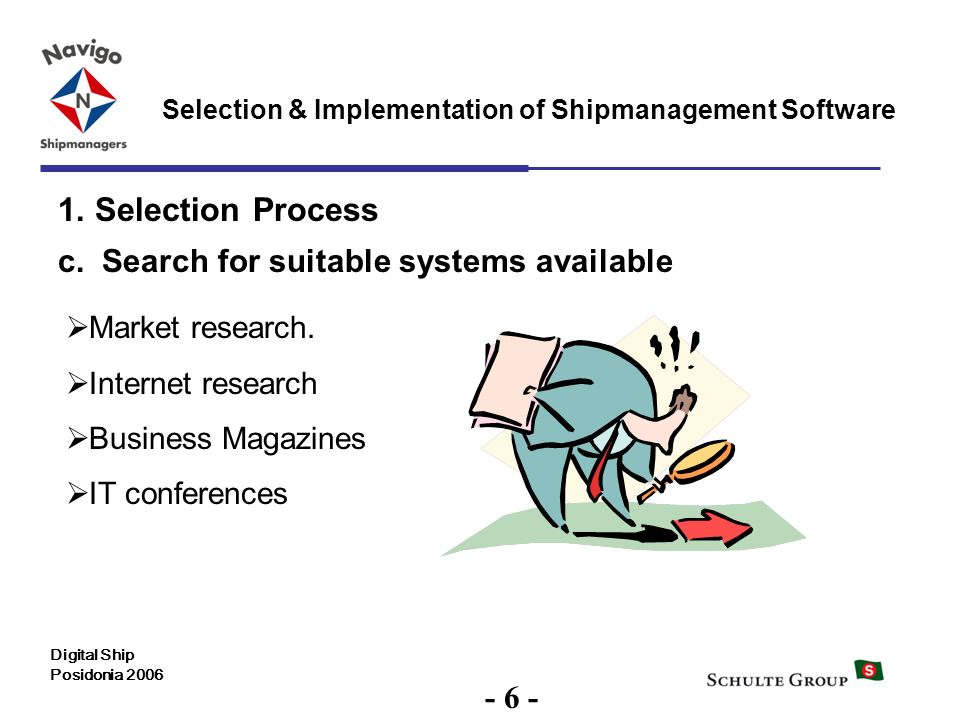 6 Selection & Implementation of Shipmanagement Software Digital Ship Posidonia 2006 1. Selection Process c. Search for suitable systems available Mark