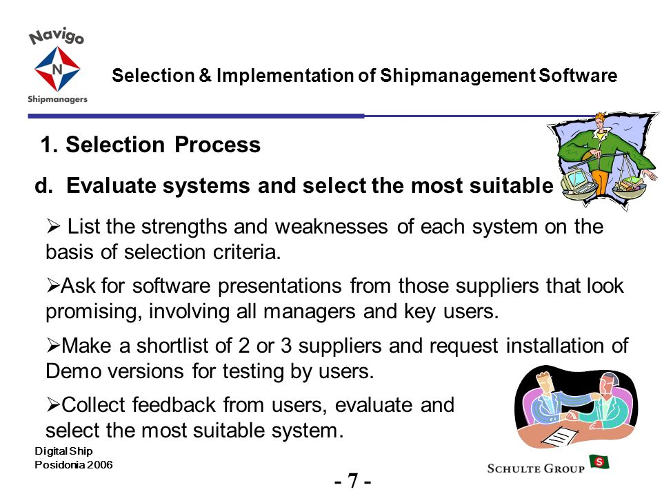 7 Selection & Implementation of Shipmanagement Software Digital Ship Posidonia 2006 1. Selection Process d. Evaluate systems and select the most suita
