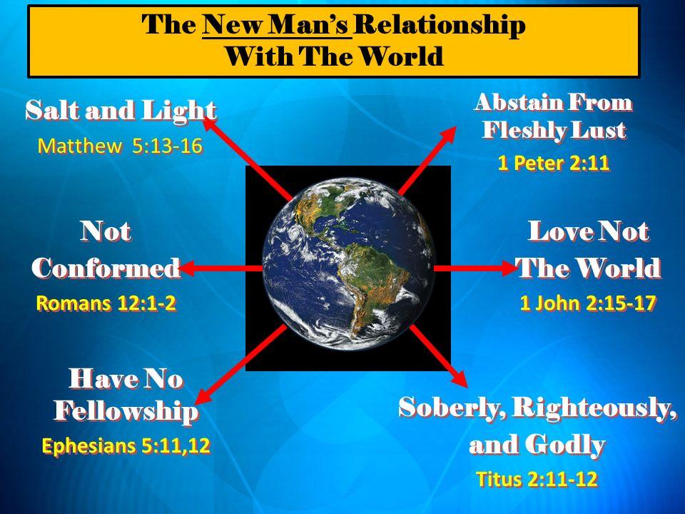 Salt and Light Matthew 5:13-16 Salt and Light Matthew 5:13-16 Not Conformed Romans 12:1-2 Not Conformed Romans 12:1-2 Have No Fellowship Ephesians 5:1