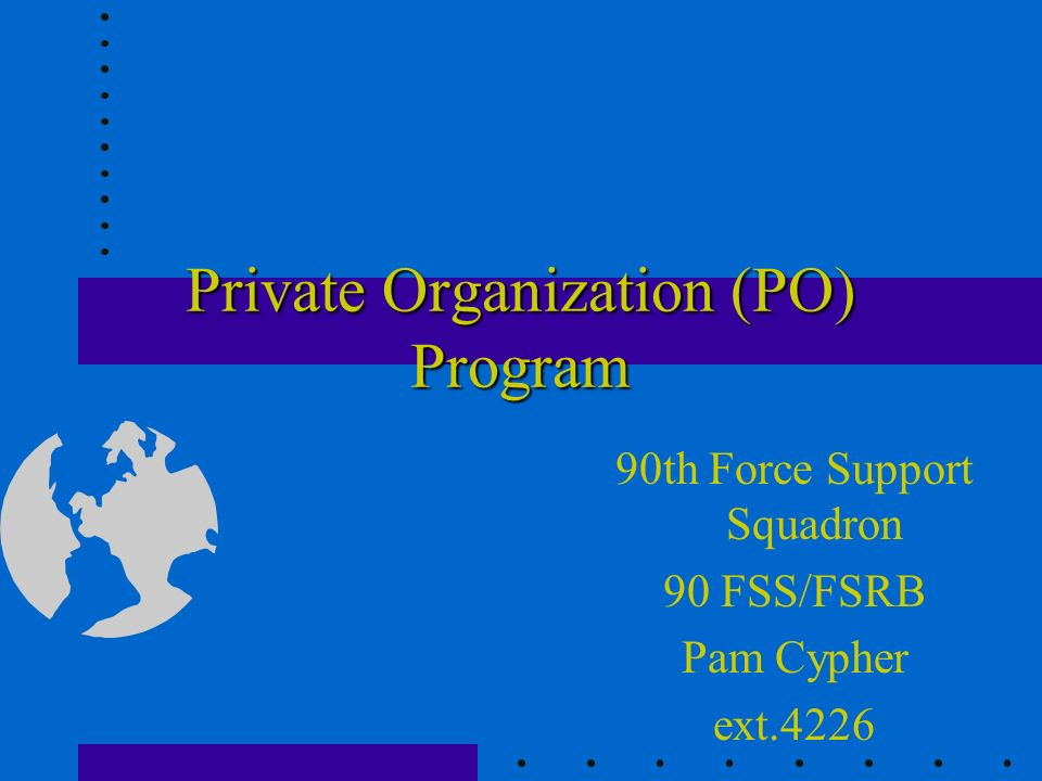 Tax Exempt Status Is the responsibility of PO to acquire if eligible and desired Federal information can be obtained from the Regional IRS Office State information can be obtained from the State Taxing Authority