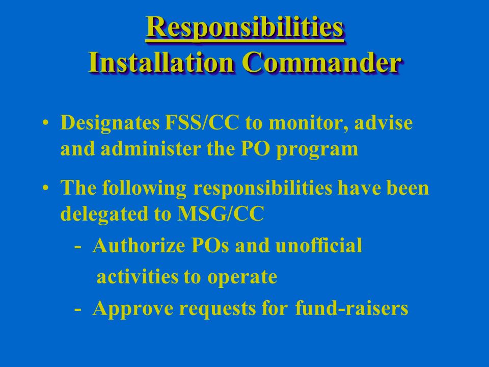 FundraisingFundraising General Rules (Continued): - DoD members are prohibited from selling items to subordinates and others who do or seek to do business with the DoD - PO fundraising events may not receive or imply DoD endorsement - May not hold fundraising events in the workplace, but is permitted in public entrances, support facilities, personal quarters, or other non-duty areas - DoD may not participate in fundraising events during duty hours