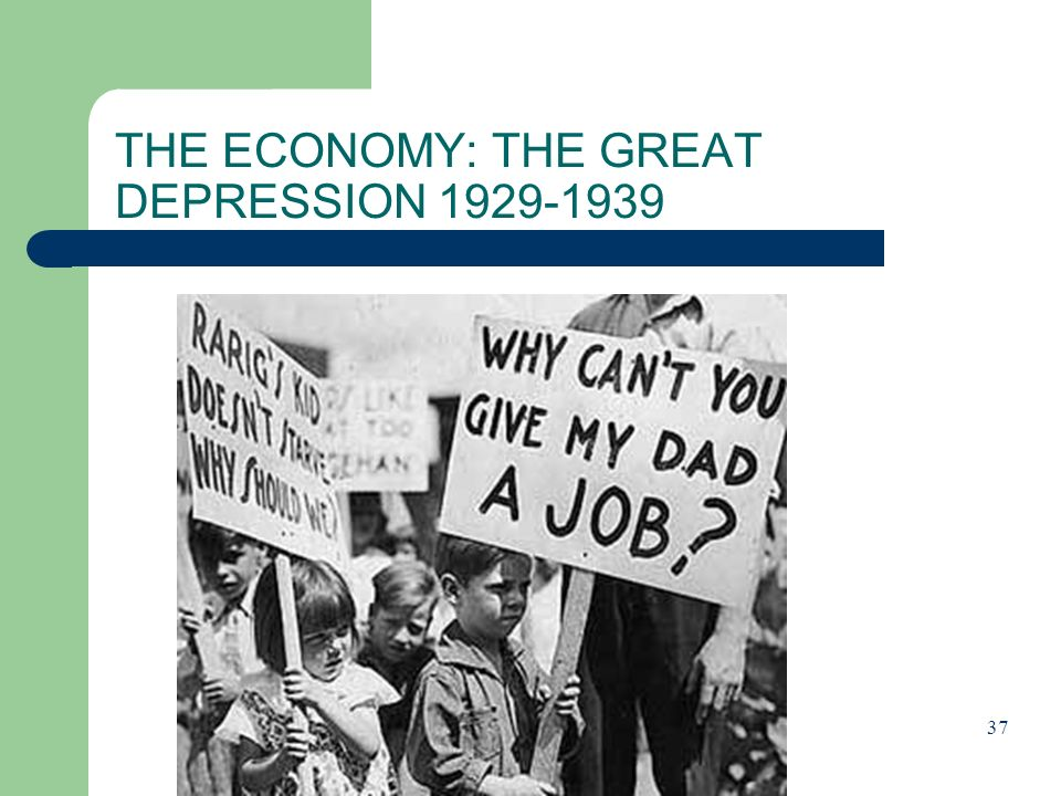 THE ECONOMY: THE GREAT DEPRESSION 1929-1939 37