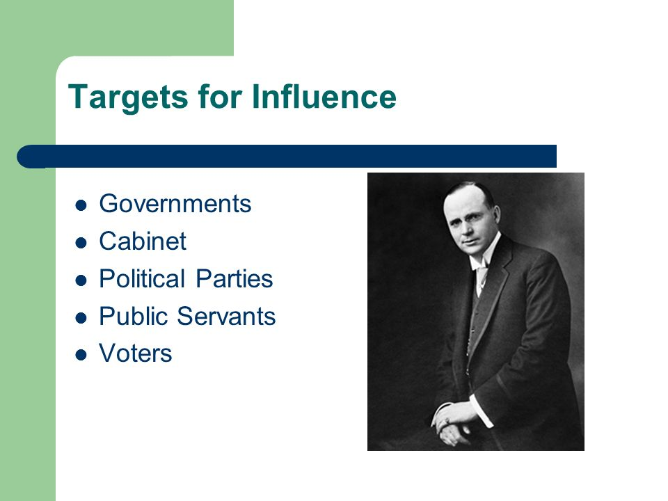 Targets for Influence Governments Cabinet Political Parties Public Servants Voters