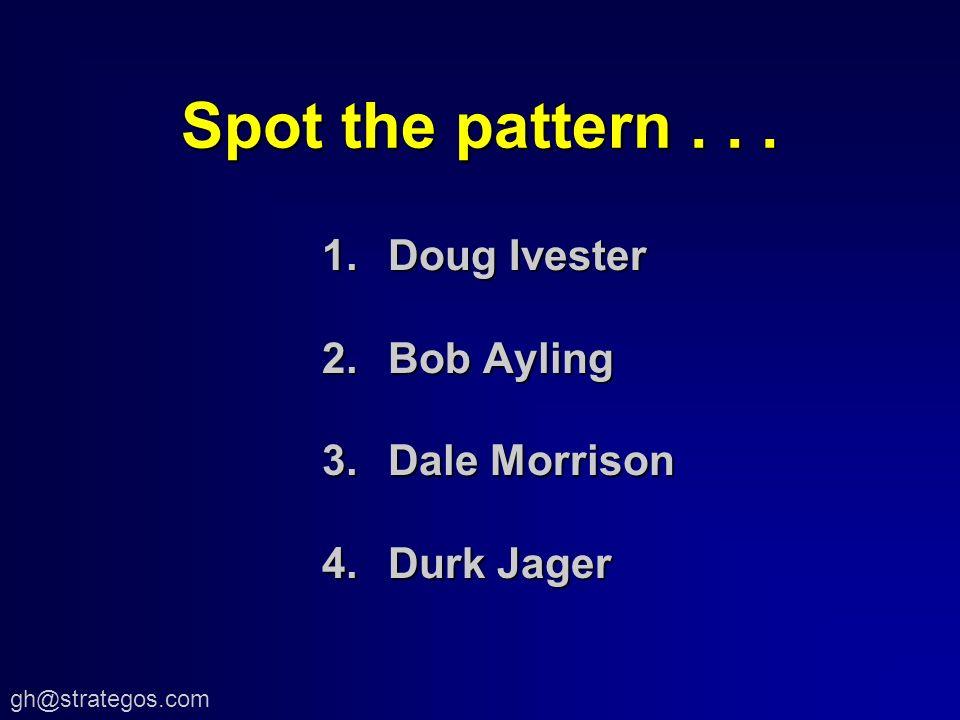 gh@strategos.com Spot the pattern... 1.Doug Ivester 2.Bob Ayling 3.Dale Morrison 4.Durk Jager