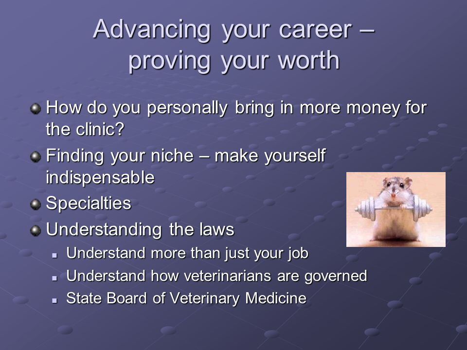 Advancing your career – proving your worth How do you personally bring in more money for the clinic? Finding your niche – make yourself indispensable