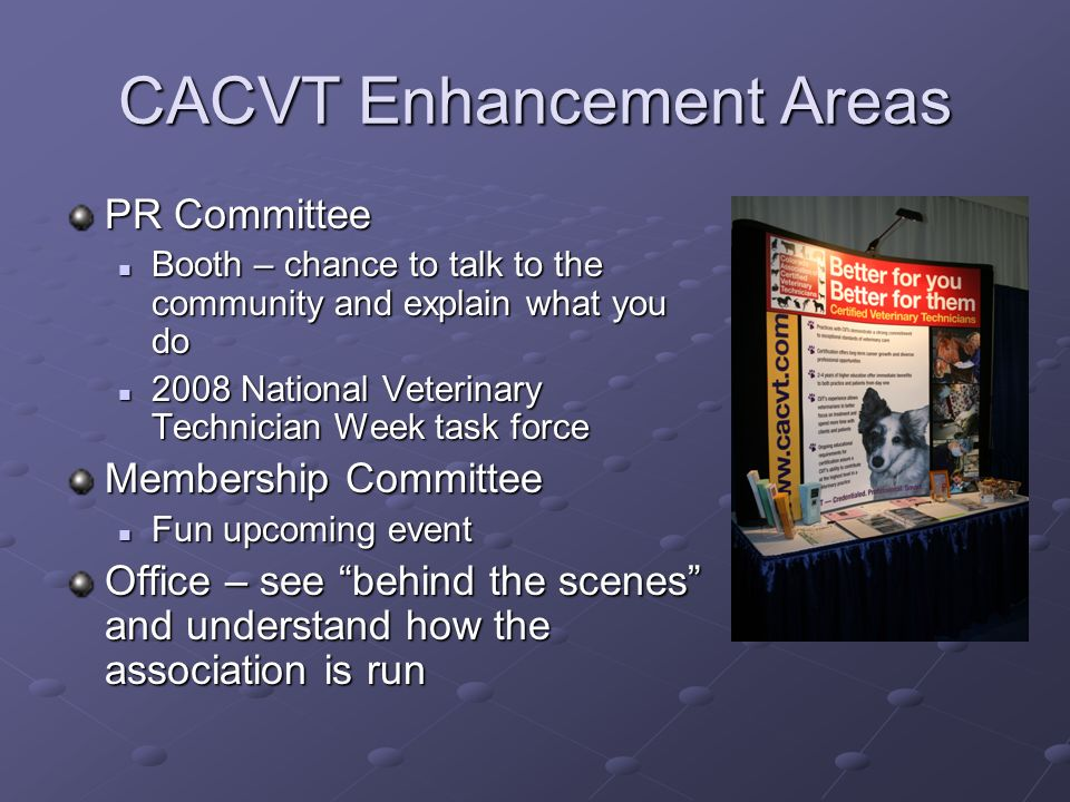 CACVT Enhancement Areas PR Committee Booth – chance to talk to the community and explain what you do Booth – chance to talk to the community and expla