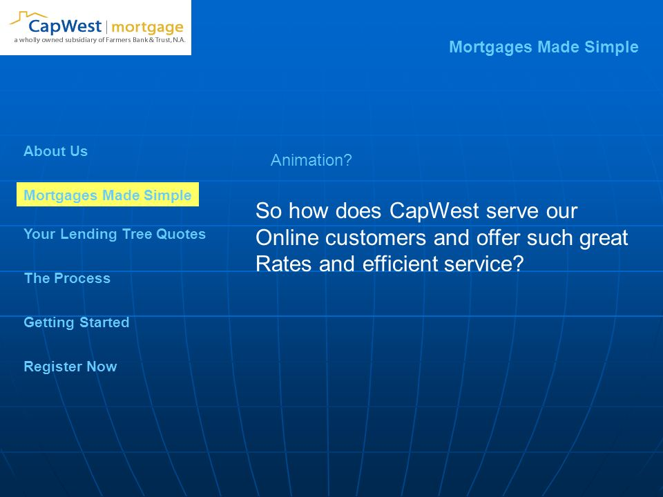 Mortgages Made Simple Your Lending Tree Quotes Getting Started The Process Register Now So how does CapWest serve our Online customers and offer such great Rates and efficient service.