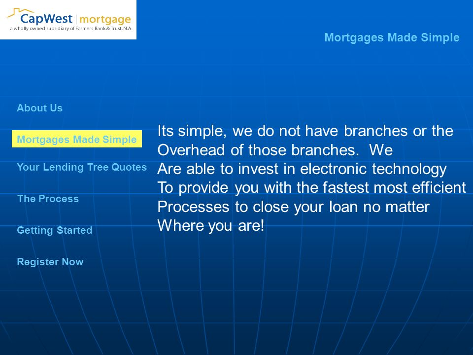 About Us Mortgages Made Simple Your Lending Tree Quotes Getting Started The Process Register Now Mortgages Made Simple Its simple, we do not have branches or the Overhead of those branches.