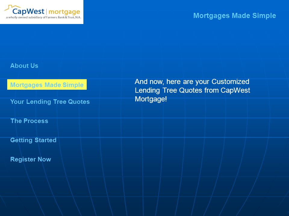 About Us Mortgages Made Simple Your Lending Tree Quotes Getting Started The Process Register Now And now, here are your Customized Lending Tree Quotes from CapWest Mortgage.