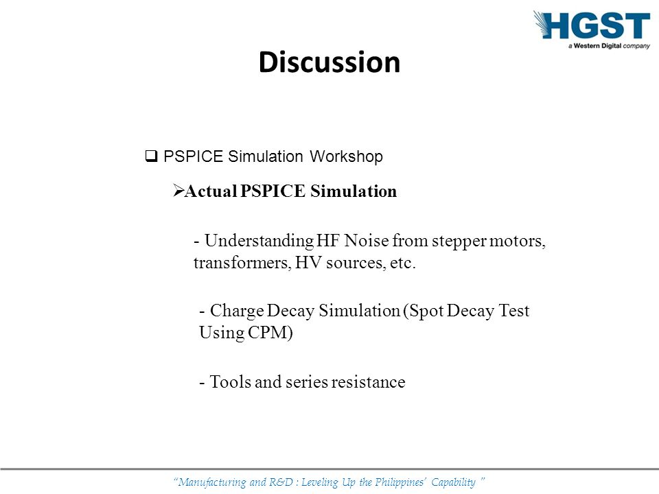 Manufacturing and R&D : Leveling Up the Philippines Capability Discussion PSPICE Simulation Workshop Actual PSPICE Simulation - Understanding HF Noise
