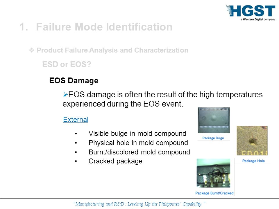 Manufacturing and R&D : Leveling Up the Philippines Capability EOS Damage EOS damage is often the result of the high temperatures experienced during t