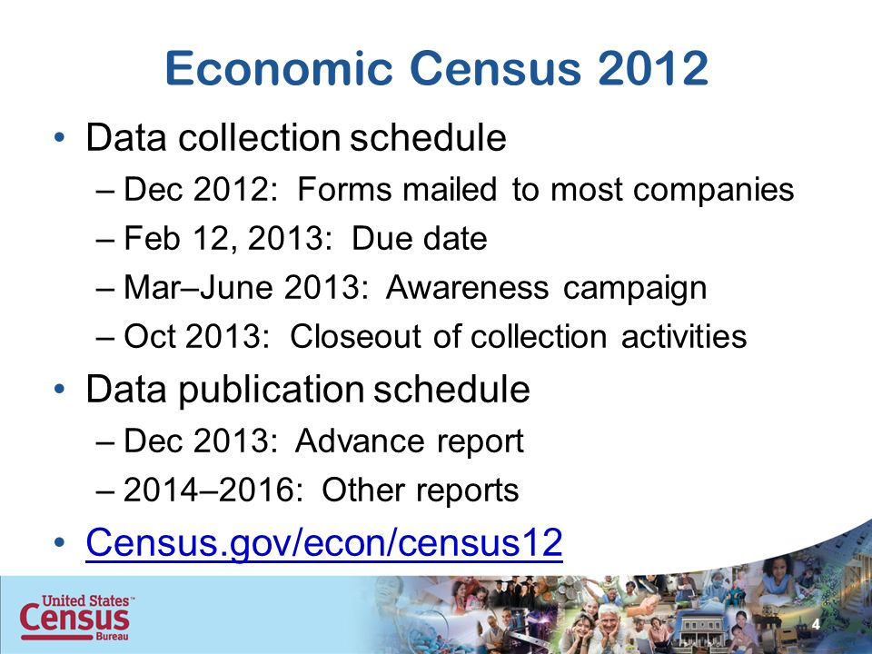 Economic Census 2012 Data collection schedule –Dec 2012: Forms mailed to most companies –Feb 12, 2013: Due date –Mar–June 2013: Awareness campaign –Oct 2013: Closeout of collection activities Data publication schedule –Dec 2013: Advance report –2014–2016: Other reports Census.gov/econ/census12 4