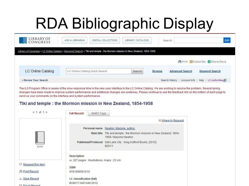RDA Bibliographic Display
